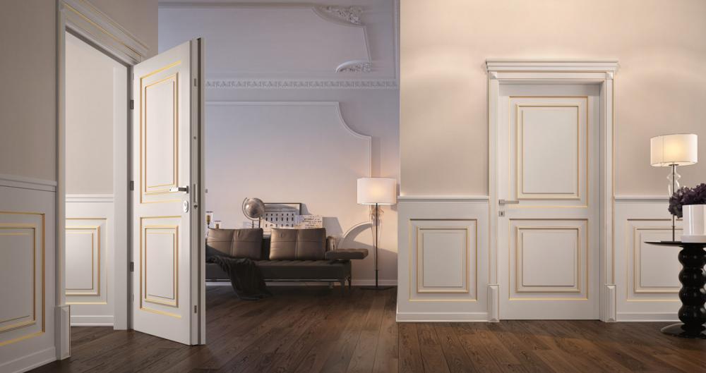 Porte interne con boiserie a mezza altezza della collezione Dorè - Garofoli Group - Serramenti Torino