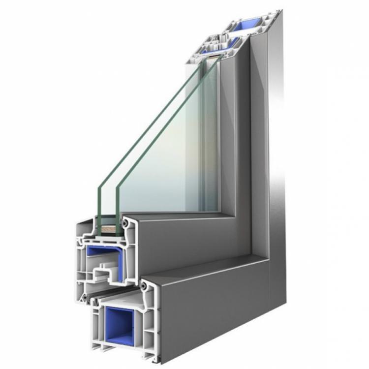 Sezione di un serramento a doppio vetro in alluminio-PVC - Serramenti Torino